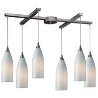 Cilindro 6 Light 33 inch Satin Nickel Pendant Ceiling Light in White Swirl Glass