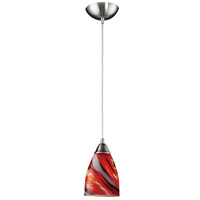Pierra 1 Light 5 inch Satin Nickel Pendant Ceiling Light in Incandescent, Candy Glass, Standard