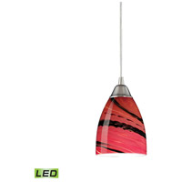 Pierra LED 5 inch Satin Nickel Pendant Ceiling Light in Autumn Glass, Standard