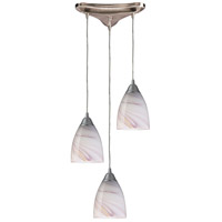 Pierra 3 Light 10 inch Satin Nickel Pendant Ceiling Light in Creme Glass