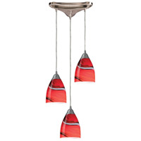 Pierra 3 Light 10 inch Satin Nickel Pendant Ceiling Light in Candy Glass