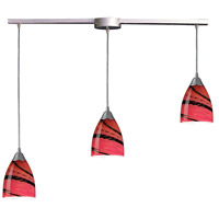 Pierra 3 Light 36 inch Satin Nickel Pendant Ceiling Light in Autumn Glass