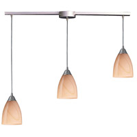 Pierra 3 Light 36 inch Satin Nickel Pendant Ceiling Light in Sandy Glass