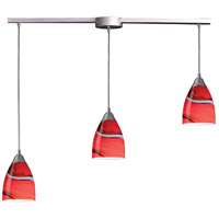 Pierra 3 Light 36 inch Satin Nickel Pendant Ceiling Light in Candy Glass