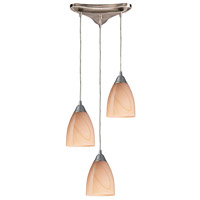 ELK 527-3SY Pierra 3 Light 10 inch Satin Nickel Mini Pendant Ceiling Light in Sandy Glass, Incandescent, Triangular Canopy, Triangular