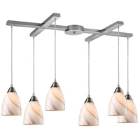 Pierra 6 Light 33 inch Satin Nickel Pendant Ceiling Light in Creme Glass