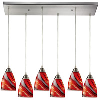 Pierra 6 Light 30 inch Satin Nickel Pendant Ceiling Light in Candy Glass