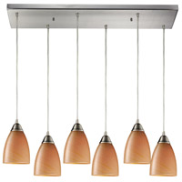 Pierra 6 Light 30 inch Satin Nickel Pendant Ceiling Light in Sandy Glass