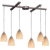 Pierra 6 Light 33 inch Satin Nickel Pendant Ceiling Light in Sandy Glass