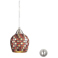 Fusion 1 Light 5 inch Satin Nickel Pendant Ceiling Light in Incandescent, Multi Mosaic Glass, Recessed Adapter Kit