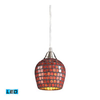 Fusion LED 5 inch Satin Nickel Pendant Ceiling Light in Copper Mosaic Glass, Standard
