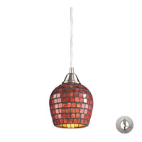 Fusion 1 Light 5 inch Satin Nickel Pendant Ceiling Light in Incandescent, Copper Mosaic Glass, Recessed Adapter Kit