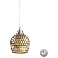 ELK 528-1GLD-LA Fusion 1 Light 5 inch Satin Nickel Pendant Ceiling Light in Gold Leaf Mosaic Glass, Recessed Adapter Kit, Incandescent