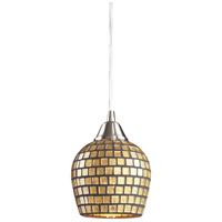 Fusion LED 5 inch Satin Nickel Pendant Ceiling Light in Gold Leaf Mosaic Glass, Standard