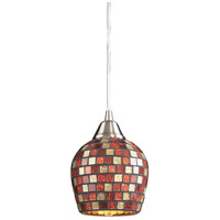 ELK 528-1MLT Fusion 1 Light 5 inch Satin Nickel Pendant Ceiling Light in Multi Mosaic Glass, Incandescent