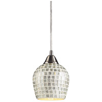 Fusion LED 5 inch Satin Nickel Pendant Ceiling Light in Silver Mosaic Glass, Standard