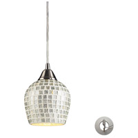 Fusion 1 Light 5 inch Satin Nickel Pendant Ceiling Light in Incandescent, Silver Mosaic Glass, Recessed Adapter Kit