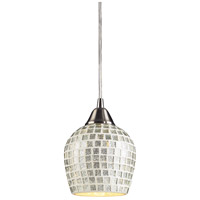 Fusion 1 Light 5 inch Satin Nickel Pendant Ceiling Light in Incandescent, Silver Mosaic Glass, Standard