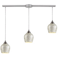 Fusion 3 Light 36 inch Satin Nickel Pendant Ceiling Light in Silver Mosaic Glass
