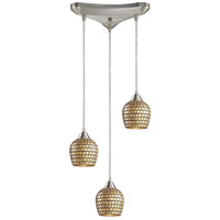 ELK 528-3GLD Fusion 3 Light 10 inch Satin Nickel Pendant Ceiling Light in Gold Leaf Mosaic Glass, Incandescent, Triangular Canopy