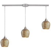 Fusion 3 Light 36 inch Satin Nickel Pendant Ceiling Light in Gold Leaf Mosaic Glass