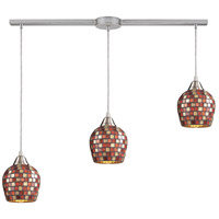 Fusion 3 Light 36 inch Satin Nickel Pendant Ceiling Light in Multi Mosaic Glass