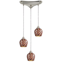 ELK 528-3MLT Fusion 3 Light 10 inch Satin Nickel Pendant Ceiling Light in Multi Mosaic Glass, Incandescent, Triangular Canopy