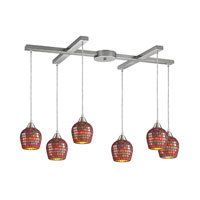 Fusion 6 Light 33 inch Satin Nickel Pendant Ceiling Light in Copper Mosaic Glass