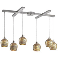 Fusion 6 Light 33 inch Satin Nickel Pendant Ceiling Light in Gold Leaf Mosaic Glass