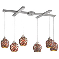 Fusion 6 Light 33 inch Satin Nickel Pendant Ceiling Light in Multi Mosaic Glass