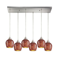 Fusion 6 Light 30 inch Satin Nickel Pendant Ceiling Light in Copper Mosaic Glass