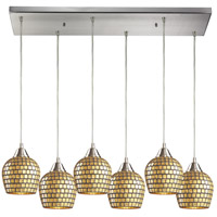 Fusion 6 Light 30 inch Satin Nickel Pendant Ceiling Light in Gold Leaf Mosaic Glass