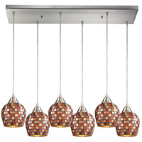 Fusion 6 Light 30 inch Satin Nickel Pendant Ceiling Light in Multi Mosaic Glass