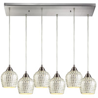 Fusion 6 Light 30 inch Satin Nickel Pendant Ceiling Light in Silver Mosaic Glass