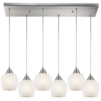 ELK 528-6RC-WHT Fusion 6 Light 9 inch Satin Nickel Pendant Ceiling Light in White Mosaic Glass, Incandescent, Rectangular Canopy