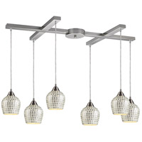 Fusion 6 Light 33 inch Satin Nickel Pendant Ceiling Light in Silver Mosaic Glass