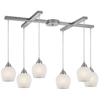 Fusion 6 Light 33 inch Satin Nickel Pendant Ceiling Light in White Mosaic Glass