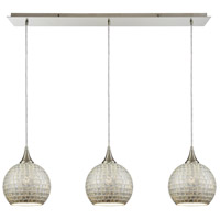 ELK 529-3LP-SLV Fusion 3 Light 36 inch Satin Nickel Linear Pendant Ceiling Light in Silver Mosaic Glass