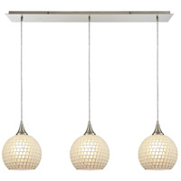 ELK 529-3LP-WHT Fusion 3 Light 36 inch Satin Nickel Linear Pendant Ceiling Light in White Mosaic Glass