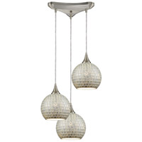ELK 529-3SLV Fusion 3 Light 12 inch Satin Nickel Pendant Ceiling Light in Silver Mosaic Glass, Triangular Canopy