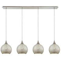 ELK 529-4LP-SLV Fusion 4 Light 46 inch Satin Nickel Linear Pendant Ceiling Light in Silver Mosaic Glass