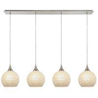 ELK 529-4LP-WHT Fusion 4 Light 46 inch Satin Nickel Linear Pendant Ceiling Light in White Mosaic Glass