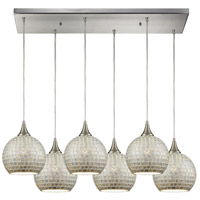 ELK 529-6RC-SLV Fusion 6 Light 32 inch Satin Nickel Pendant Ceiling Light in Silver Mosaic Glass, Rectangular Canopy