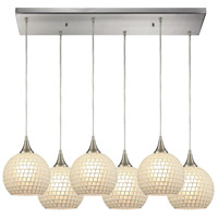 ELK 529-6RC-WHT Fusion 6 Light 32 inch Satin Nickel Pendant Ceiling Light in White Mosaic Glass, Rectangular Canopy