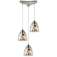 ELK 542-3 Gemstone 3 Light 10 inch Satin Nickel Mini Pendant Ceiling Light in Incandescent, Triangular Canopy, Triangular