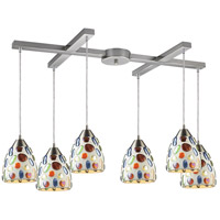 ELK 542-6 Gemstone 6 Light 17 inch Satin Nickel Mini Pendant Ceiling Light in Incandescent, Light Bar, H-Bar