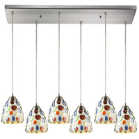 ELK 542-6RC Gemstone 6 Light 9 inch Satin Nickel Mini Pendant Ceiling Light in Incandescent, Rectangular Canopy, Rectangular