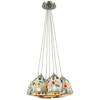 ELK 542-7SR Gemstone 7 Light 28 inch Satin Nickel Mini Pendant Ceiling Light in Incandescent, Round Canopy, Nesting
