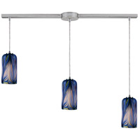 Molten 3 Light 36 inch Satin Nickel Pendant Ceiling Light in Molten Ocean Glass