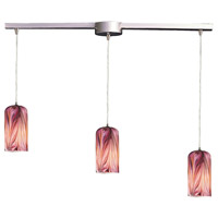 Molten 3 Light 36 inch Satin Nickel Pendant Ceiling Light in Molten Rose Glass
